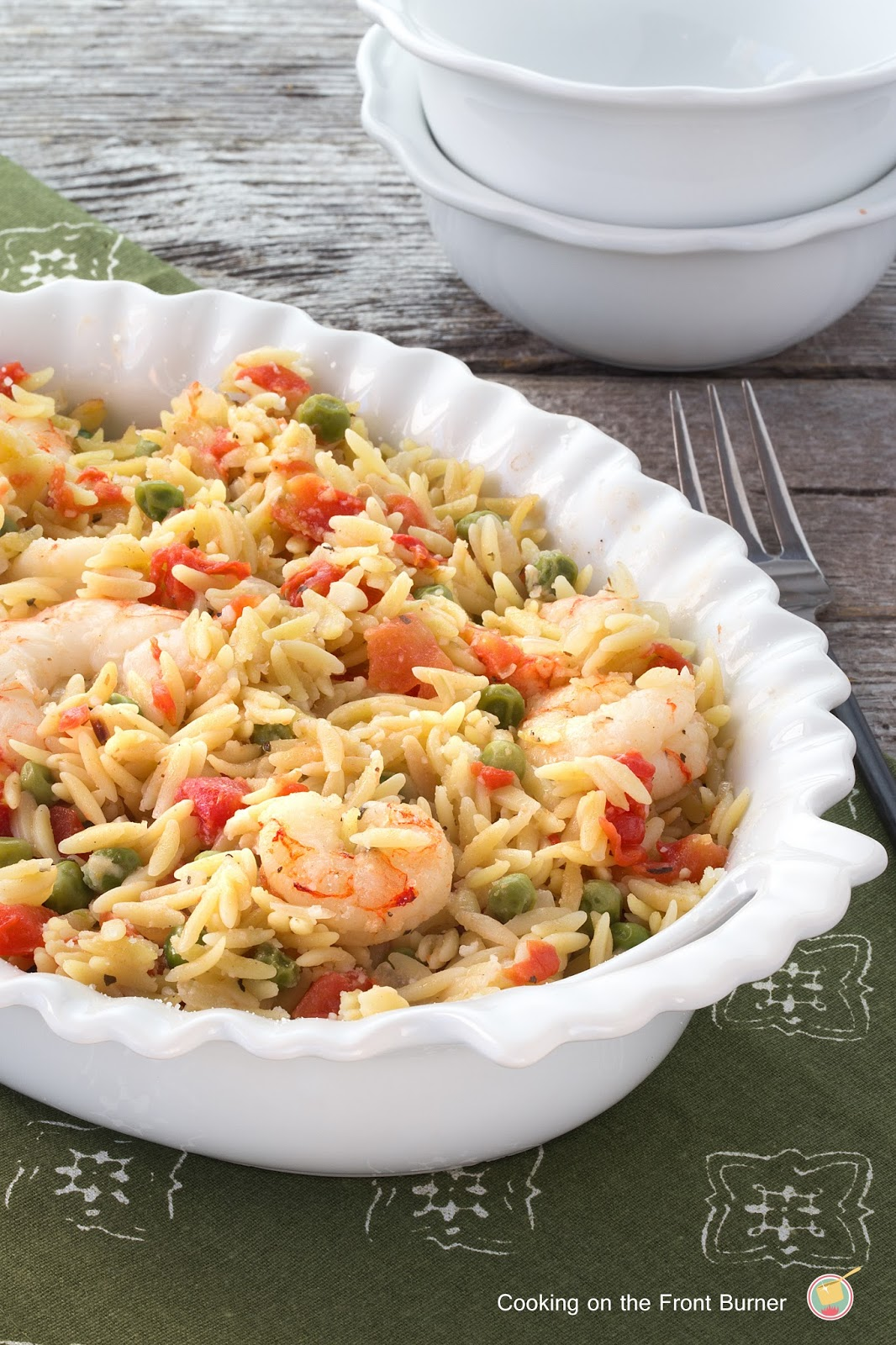 Lemon Orzo Shrimp Bake | Cooking on the Front Burner