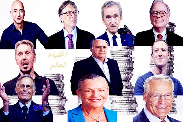 كل سنة تصدر مجلة فوربس قائمة الأشخاص أغنياء العالم بحيث مجموع ثروة هذه السنة قد بلغ 2095 مليار دولاربانخفاض 700 مليار دولار عن عام 2019 وذلك يعود لما يشهده العالم بسبب فيروس كورونا.