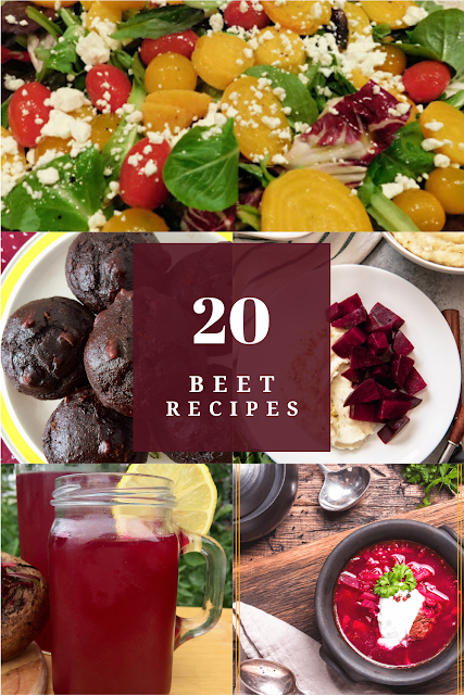 A collage of beet recipes including salad, roasted, mini muffins, lemonade, and soup.