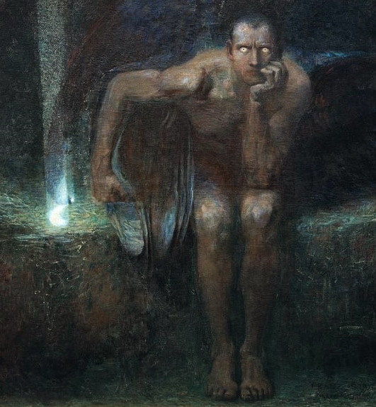 Lucifer painting, by Franz Stuck