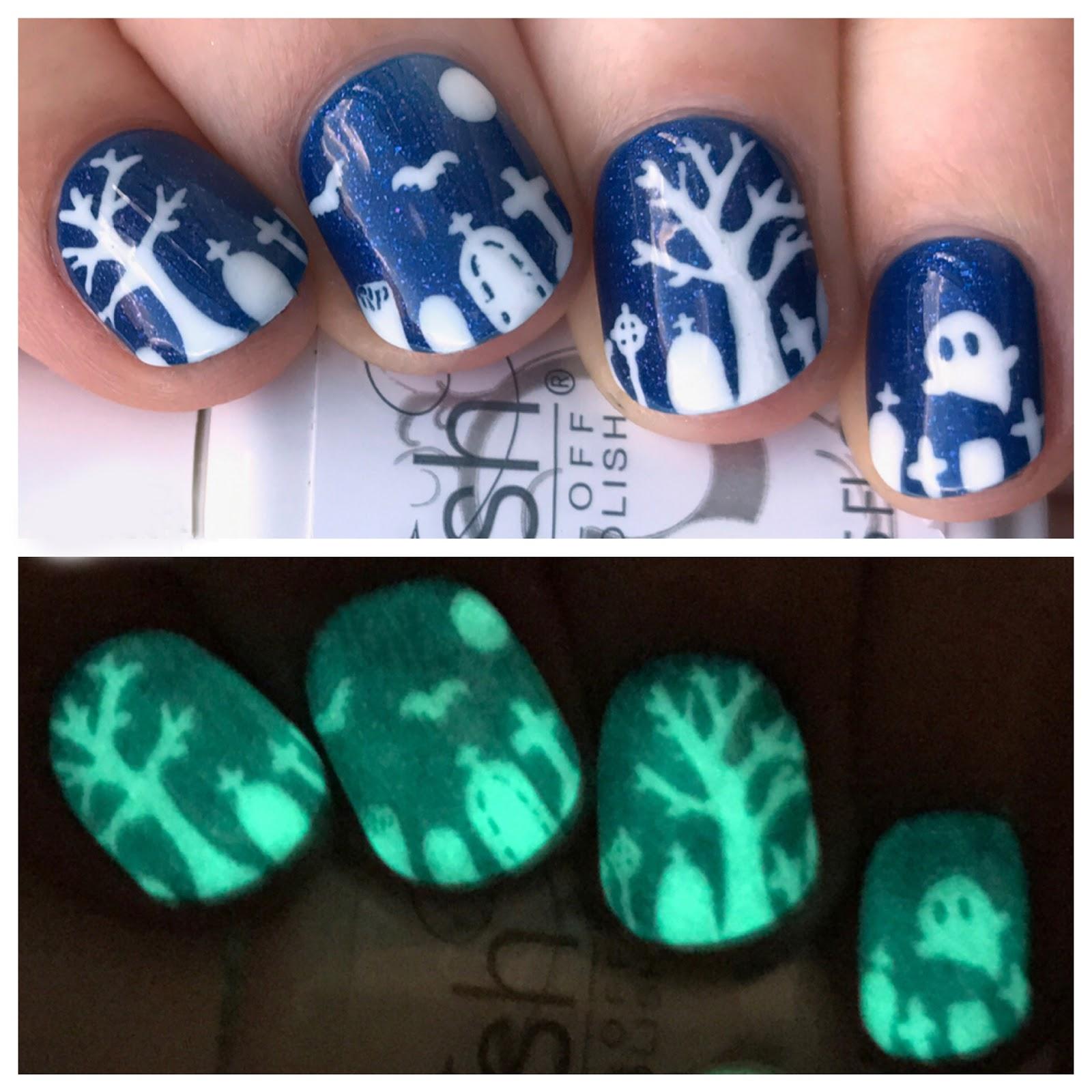 Gelish Glow In The Dark Polish + Halloween Nail Art | One Nail To ...