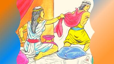 A esposa de Potifar arranca a capa de José