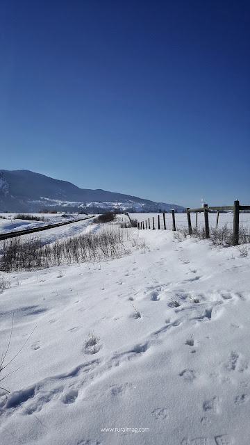 Blue sky mountains, snow covered landscape and fence in farmland www.ruralmag.com