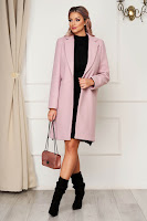 Palton SunShine roz prafuit office din stofa