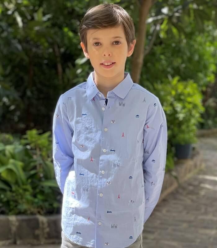 Prince Joachim and Princess Marie. Prince Henrik wore a sky blue print shirt from Jacadi Paris