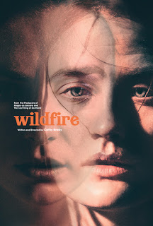 Wildfire poster, closeup of face artily overlapped with a double exposure of the same face