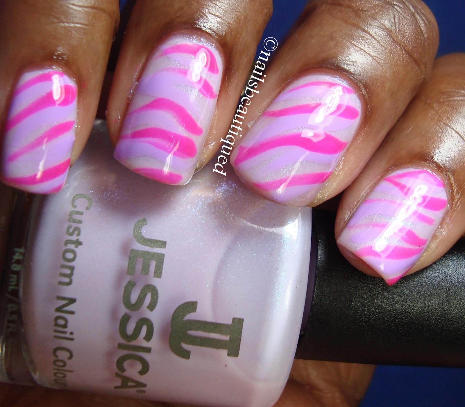 unbitten polish: Zebra Stripe Nail Art Design