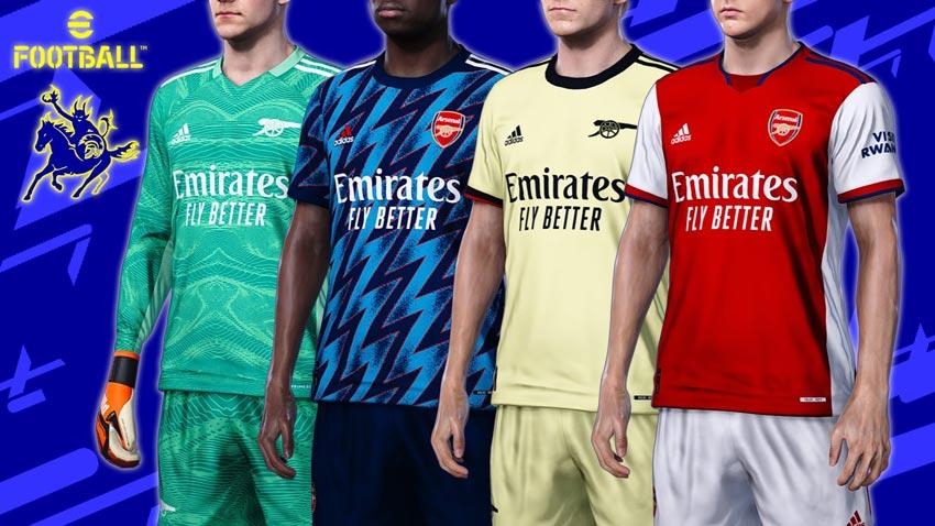 Arsenal 2021-2022 Kits For eFootball PES 2021