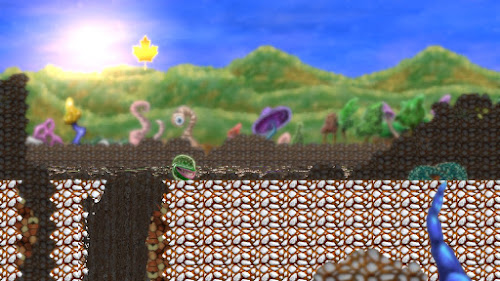 Screenshot from a level with watercolored hills in the background.