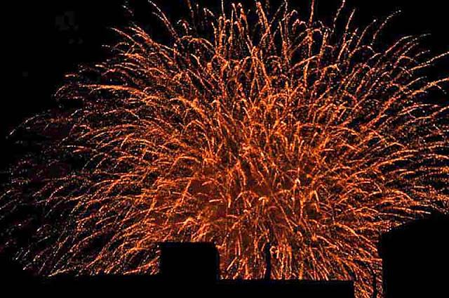 fireworks, cityscape, Okinawa