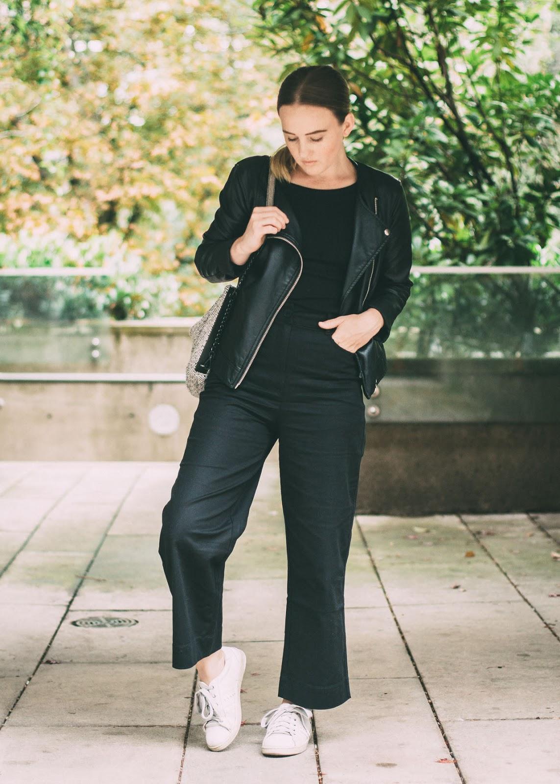 Minimal black outfit - Aritzia Talula pants - Vancouver Fashion Blogger