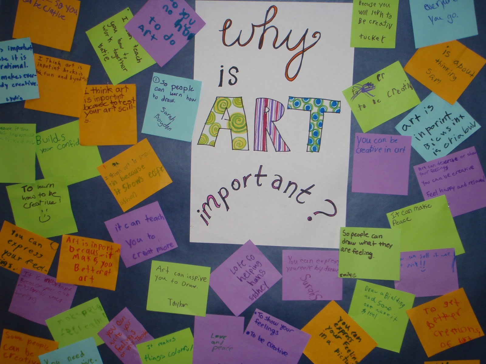 why is art important 1 arts improves your creativity skills whether it is cooking, painting or music, we do art as if its our own 2 arts gives you joy i smile whenever i sing my favorite song.