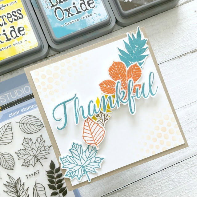 Sunny Studio Stamps: Elegant Leaves Customer Card by Amy Tsuruta
