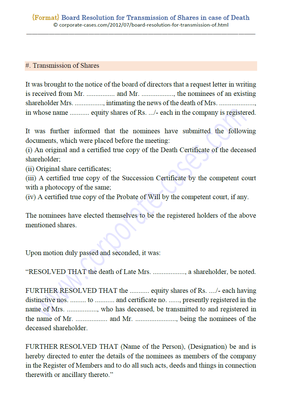 Board Resolution For Transmission Of Shares In Case Of Death