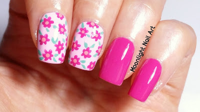 Easy Pink Floral Nail Art Design