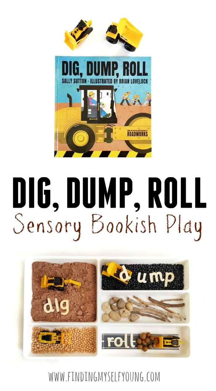 Dig dump roll bookish play activity using a cutlery tray.
