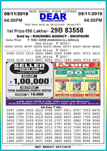 Sambad lottery 09-11-2019 West Bengal State Lottery Result 04.00 PM-lotterysambadresults.com