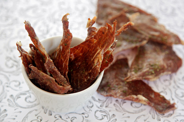 Homemade natural beef jerky dog treats