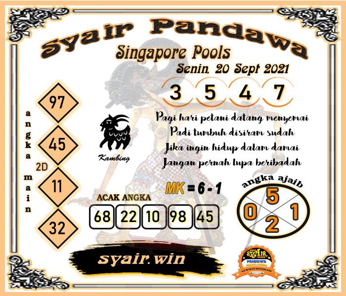 Syair Pandawa SGP Senin 20-09-2021