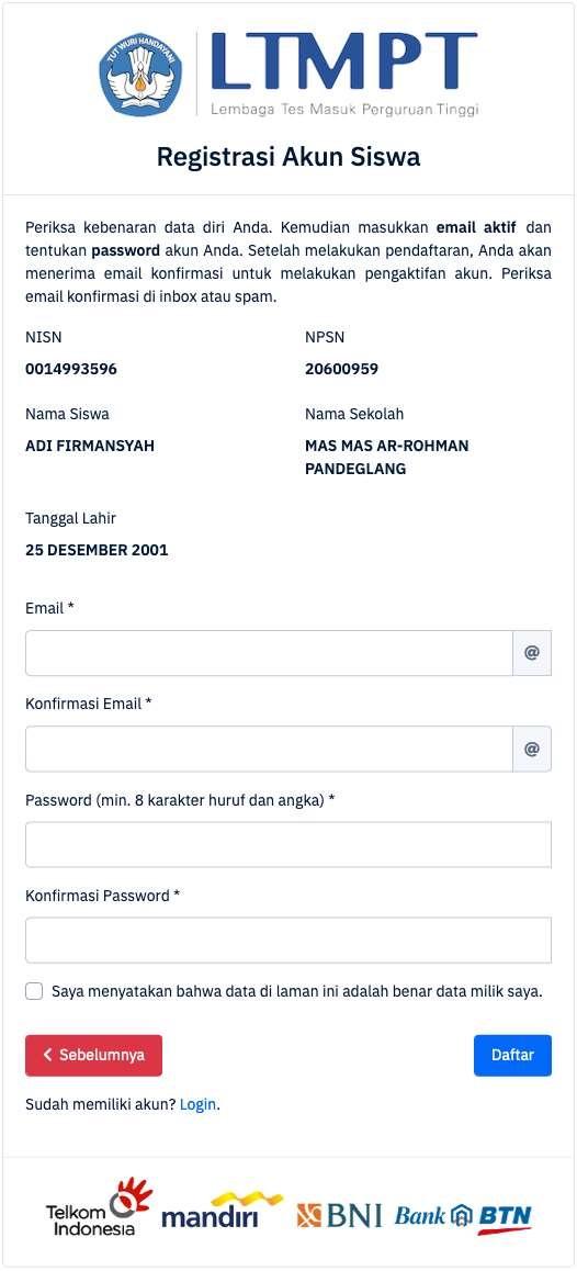 email password registrasi akun siswa ltmpt tahun 2021 tomatalikuang.com