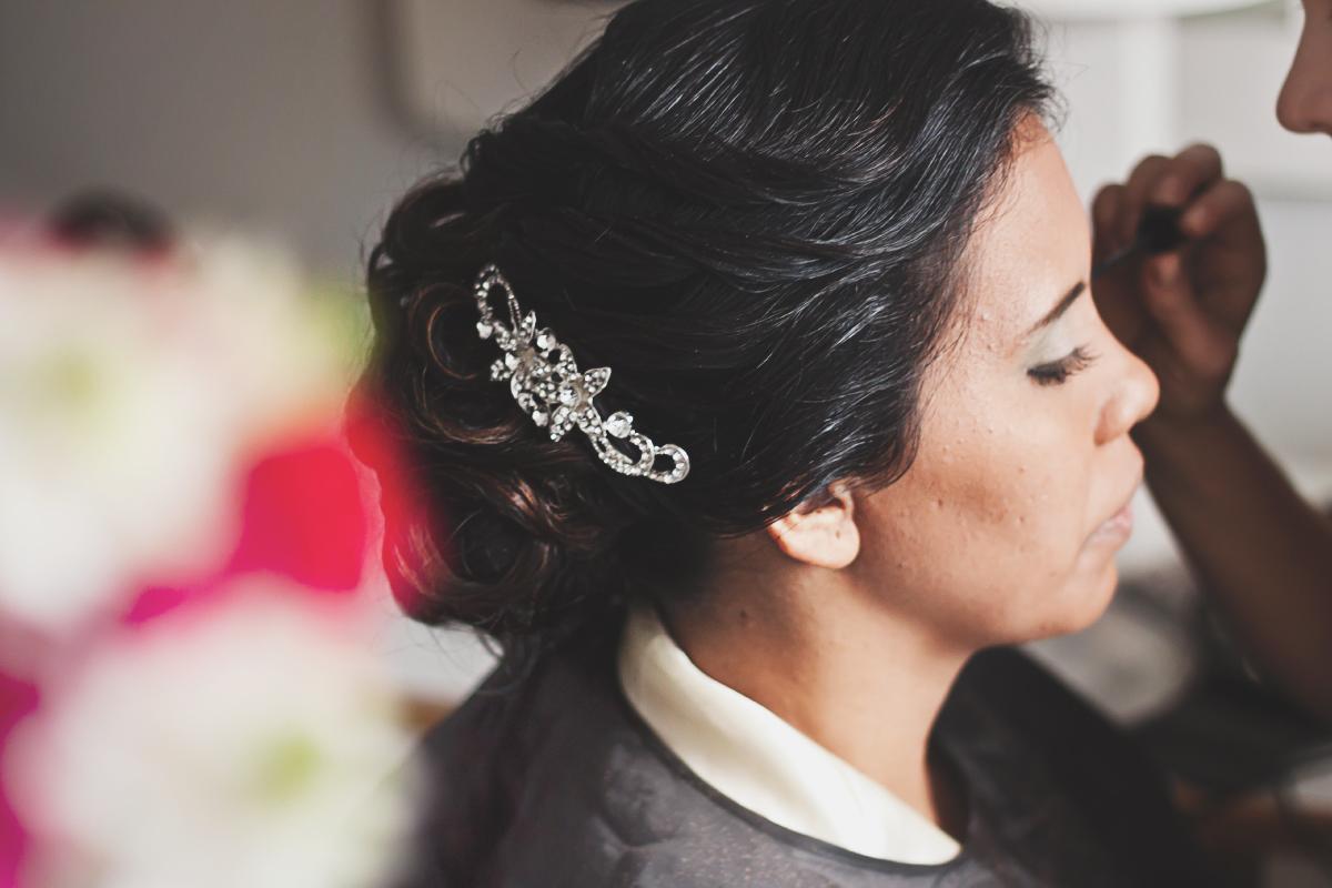 Fotografía de prueba de maquillaje novia de boda, fotógrafo profesional en Medellín