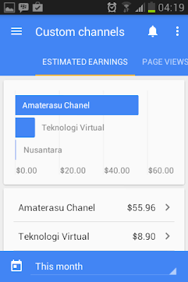 Tampilan Custm Chanel AdSense Mobile