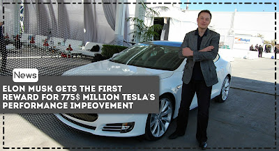 Elon Musk gets the first reward for $ 775 million Tesla's performance improvement