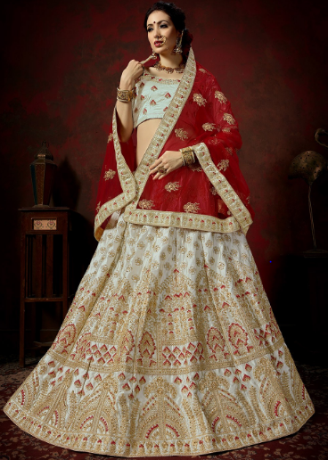 Grey decorated Bridal Lehenga Choli