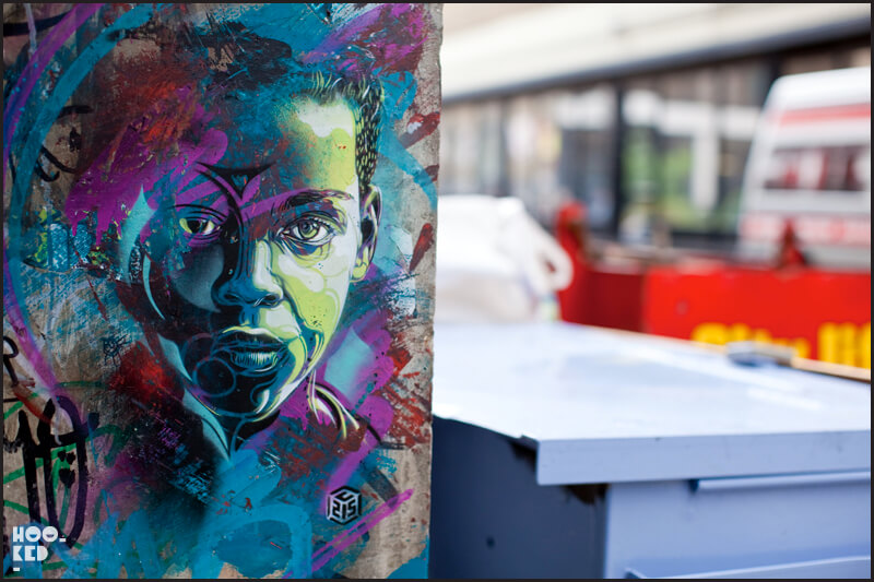 London street art, portrait stencil by artist C215