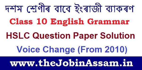 SEBA Class 10 English Grammar HSLC Solved Question Answer