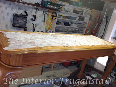 Patching the damaged veneer on the red milk painted sofa table