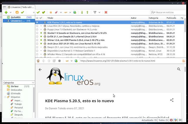 QuiteRSS: un lector de RSS de código abierto para  Linux