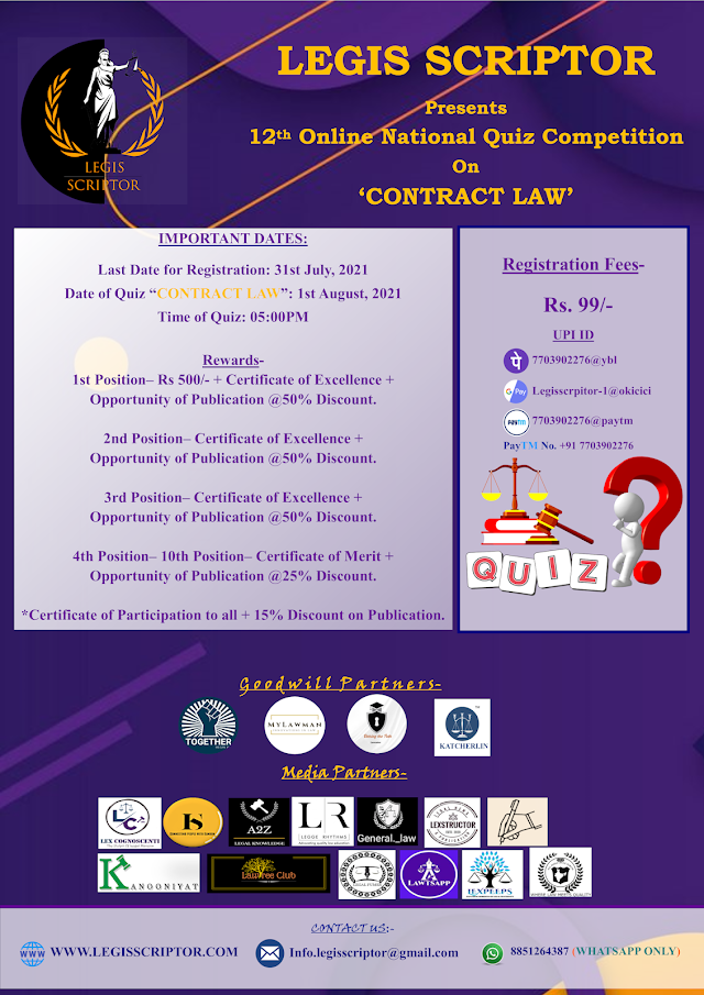 [Quiz Competition] 11th Online National Quiz Competition on Contract Law by Legis Scriptor [Register by 31 July 2021]