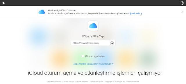 iCloud oturum açma sayfası