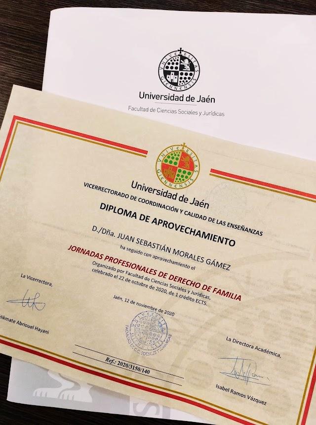 Diplomas de las Jornadas Profesionales de Derecho de Familia