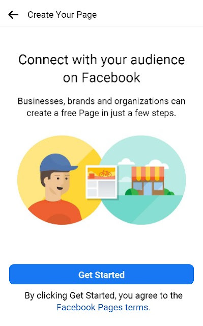 Create your facebook page get started
