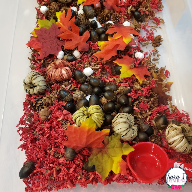 Fall harvest sensory bin for toddlers