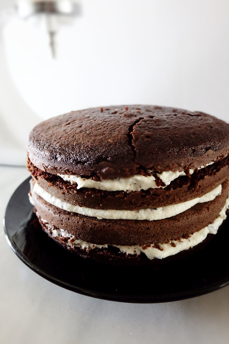 cake layers filled and stacked