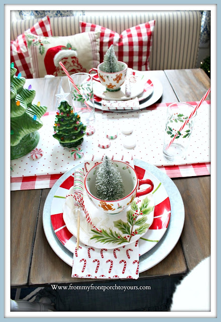 Cottage- Farmhouse- Christmas- Breakfast -Nook-Table-Setting-Gingerbread-Man-Mug-candy cane-napkins-From My Front Porch To Yours