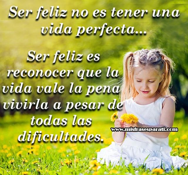 Ser feliz no es tener una vida perfecta..