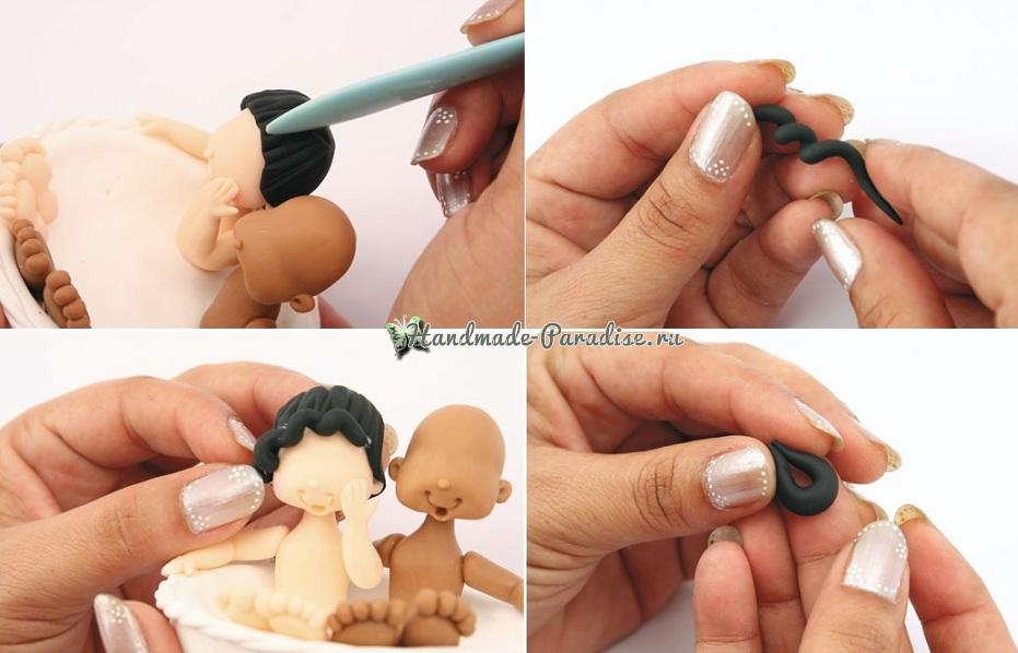 Лепка куколок-молодоженов из холодного фарфора (9)