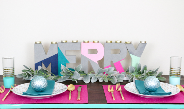 DIY Faux Concrete Painted Typography Candle Holder - Colorblocked Merry - Holiday - Table Centerpiece - DIY project - craft project - faux concrete paint - letters - color - Target Christmas