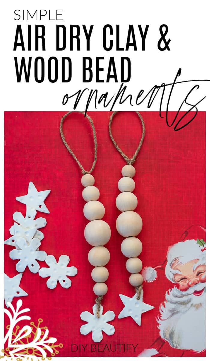 clay and wood bead Christmas ornaments