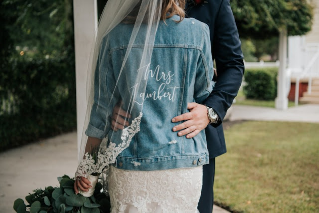 adorable brides jean jacket with name