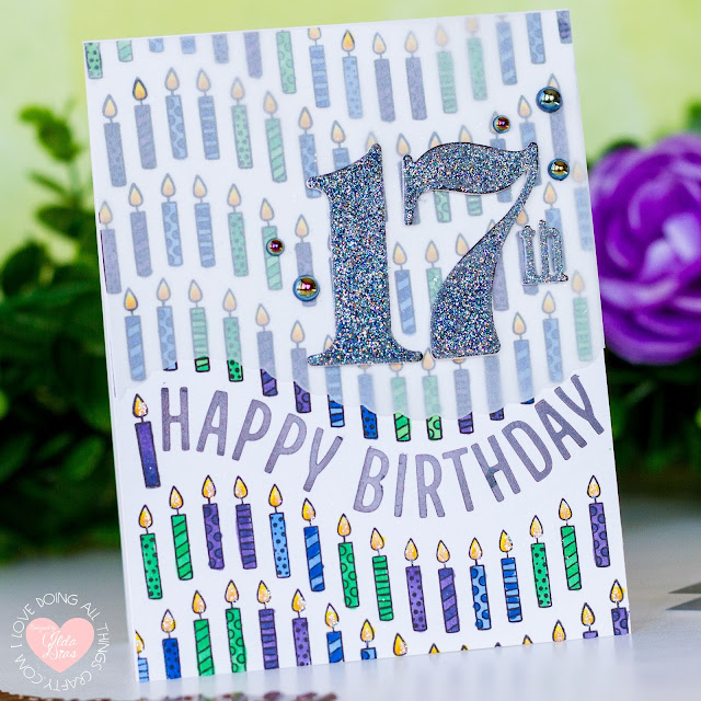 Glimmer Hot Foil Kit of the Month,  Spellbinders, Around the Bend, Curved Glimmer Border and Sentiments, Card Making, Stamping, Die Cutting, handmade card, ilovedoingallthingscrafty, Stamps, how to, Birthday Card, Thank you
