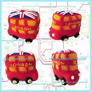 London Bus Amigurumi PDF Crochet Pattern by HandmadeKitty