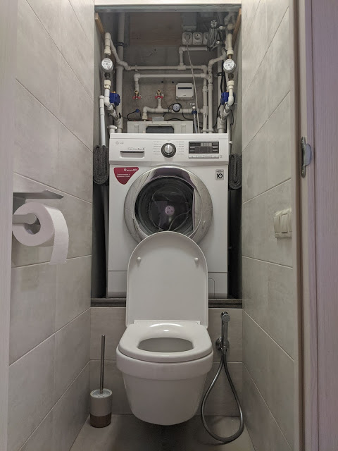 Как установить стиральную машину над унитазом