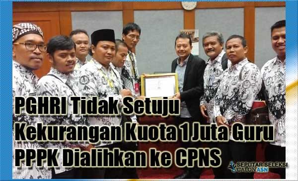 PGHRI Tidak Setuju Kekurangan Kuota 1 Juta Guru PPPK Dialihkan ke CPNS