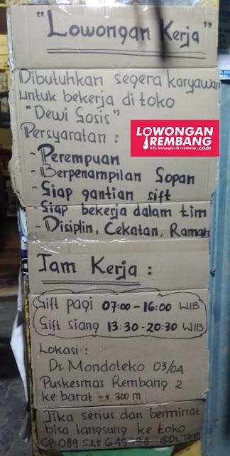 Lowongan Kerja Karyawati Toko Dewi Sosis Rembang Tanpa Syarat Pendidikan