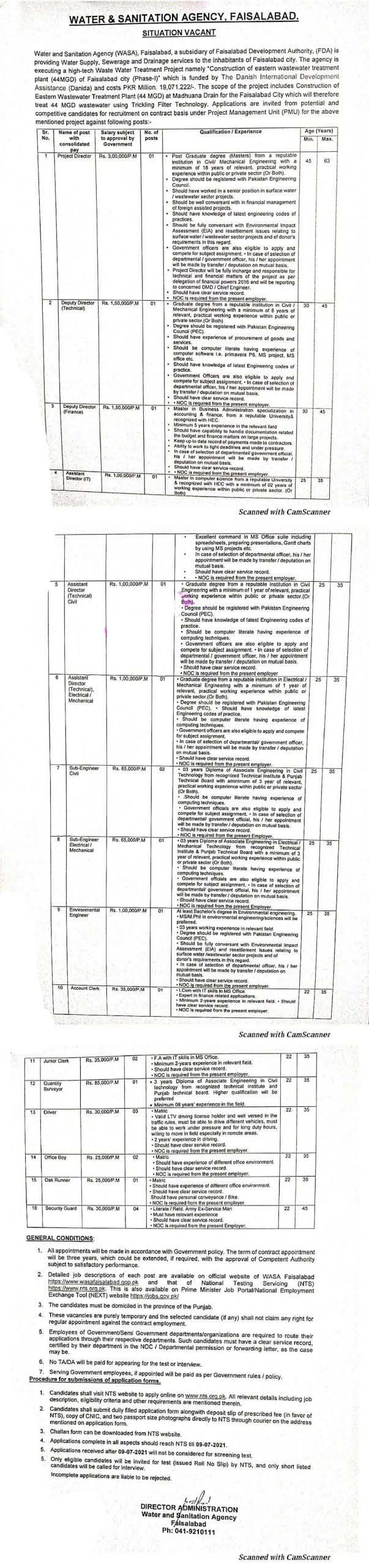 Latest Jobs in Water and Sanitation Agency WASA Faisalabad 2021